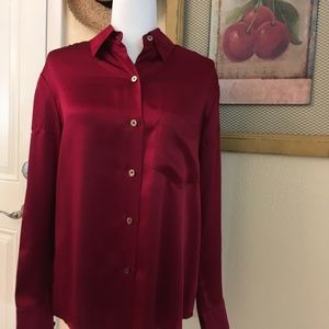 Linda Allard & Ellen Tracy Long Sleeve Blouse,Silk